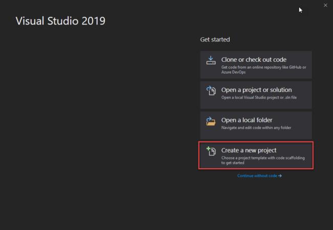 Create New Project in Visual Studio 2019