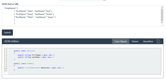 JSON And C# Object